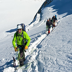 Mont Blanc du Tacul ... 3 (TomFahy.com) Tags: travel people mountain snow france alps landscape climb glacier climbing alpine mountaineering chamonix montblanc montblancdutacul sonydscr1 bergschrund rimaye coldumidi