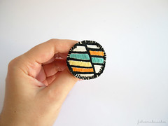 Turquoise and orange embroidered brooch (FishesMakeWishes) Tags: orange yellow turquoise brooch embroidered colorblock roundbrooch