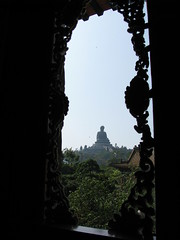 Buddha through the window (oldandsolo) Tags: china hk hongkong buddhism bigbuddha lantauisland polinmonastery chinesetemple chineseculture ngongping tiantanbuddha ngongpingbuddha buddhistfaith chinesereligiousshrine largestseatedbronzebuddha
