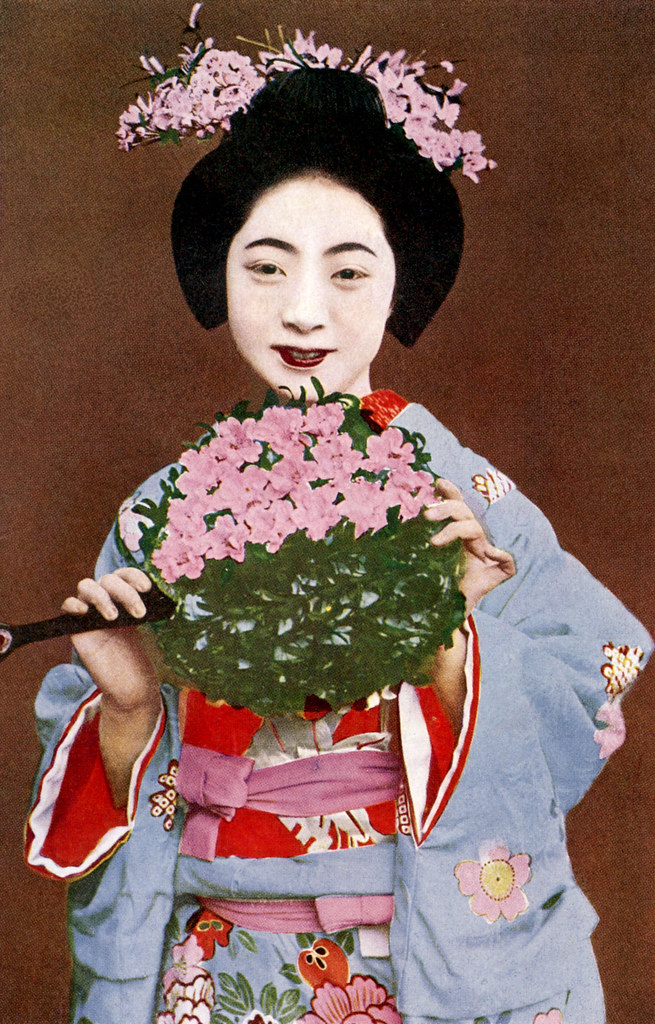 Miyako Odori Dancer 1932 Blue Ruin 1 Tags Japan Japanese 1930s Kyoto Postcard