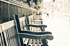 Empty seats (jillyspoon) Tags: street wood city canon bench scotland wooden chair edinburgh seat rows canon70200mm canon60d