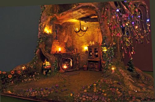 Fairy Tree Trunk House @ Night
