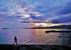 Candidasa sunset (SM Tham) Tags: asia indonesia bali island candidasa beach sunset sky clouds sea ship tanker pier branches rocks guy fishing water reflections outdoors dusk