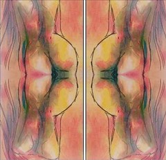 2016-07-28 symmetrical contemporary French nude paintings1 (april-mo) Tags: symmetry symmetrical art painting nu nude experimentaltechnique experimental womanportrait portrait