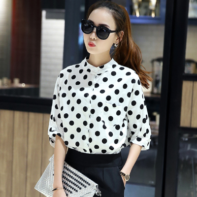 Specials everyday shirts girls cotton summer 2016 retro School of Korean Air New polka dot dress