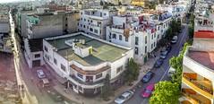 Streets United (Yassine Abbadi) Tags: street car road building tetouan tetuan morocco maroc marruecos tree mosque store roof green panorama