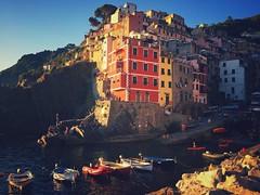 Riomaggiore - iPhone (Jim Nix / Nomadic Pursuits) Tags: goldenhour sunset mediterranean ocean coastline cinqueterre riomaggiore italy europe travel snapseed iphone