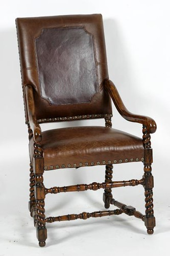 Maitland Smith Leather Chair w/ Turned Legs ($448.00)