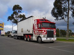 photo by secret squirrel (secret squirrel6) Tags: craigjohnsontruckphotos kenworth aerodyne stripes cabover cranbourne big park bdouble half