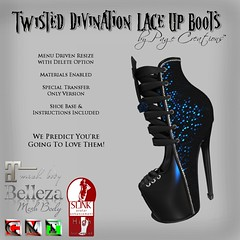 Twisted Divination Laced Boots - Black 2 by Page Creations   (Raven Page) Tags: slink high belleza maitreya materialsenabled twisted thf16
