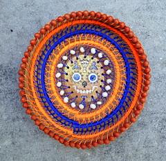 Dia de Los Muertos Basket (floyfreestyle) Tags: basket pineneedles sinew linen coiled orange blue bone beads dayofthedead diadelosmuertos handmade pottery calavera