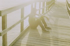 (Samantha Marina) Tags: wood light boy summer sun man film bay pier day bright skin faceless sittin