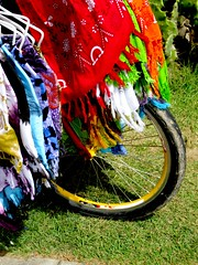 colorido acidental (saudades1000) Tags: brazil bike colorful tire bicicleta alagoas cangas sarongs cenatropical