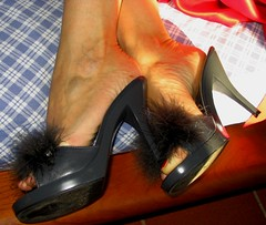 marabou high heel slippers for Sara (al_garcia) Tags: feet high shoes toes sandals clogs heel rough mules soles smelly toenails toerings calloused