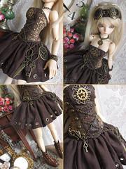 Clockwork [details] (~ Eglantine ~) Tags: virginia doll dress handmade corset bjd fairyland steampunk msd mnf minifee rheia