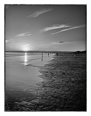 Lahinch Sunset Vertical panorama BW (Thepig1979) Tags: ocean ireland sunset sky water clouds landscape sand eire lehinch