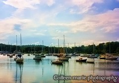 Boats at Sunset (GatorWrangler) Tags: ocean bridge trees sunset sky cliff beach water clouds boats island pier sand rocks cove massachusetts newengland shore beverly shack peninsula essex rockport manchesterbythesea capeann lobstercove collinscove gloucesterbythesea