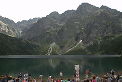 People in front of the lake