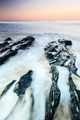 Turbulence (Matthew Post) Tags: ocean longexposure sunset beach rocks waves post matthew australia queensland sunshinecoast mooloolaba crevice maroochy maroochydore alexandraheadland matthewpost