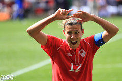 Christine Sinclair :o (French Frog Photography) Tags: uk england canada sports football action soccer surprised coventry olympicgames london2012 ricoharena bronzemedal christinesinclair frogphotography canon7d canwnt pitchsidereport