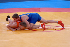 Robert Rosengren (Sweden) and Aleksandr Kazakevic (Lithuania) (Michael N Hayes) Tags: london roman wrestling 2012 olympicgames greco london2012 londonolympics olympicwrestling grecoromanwrestling robertrosengren aleksandrkazakevic