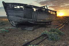 Dawn Wreck (ShrubMonkey (Julian Heritage) Also on ipernity) Tags: sun abandoned beach sunrise dawn boat wooden decay shingle tracks beached hull hulk discarded wreck desolate decline derelict wrecked hdr dilapidated sunup clinker