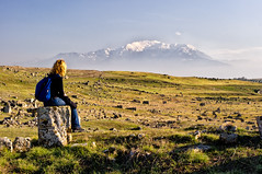 Enjoying the View (Jason Drury) Tags: woman mountain girl female turkey ancient ruins sitting view jeans pamukkale mec hierapolis lpbeyond