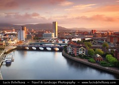 UK - Northern Ireland - Belfast - City Skyline along River Lagan during morning light ( Lucie Debelkova / www.luciedebelkova.com) Tags: world uk trip travel vacation holiday tourism beautiful wonderful nice fantastic perfect europe tour place unitedkingdom awesome sightseeing eu belfast visit location tourist best journey stunning gb destination northernireland sight traveling lovely visiting exploration incredible touring breathtaking luciedebelkova wwwluciedebelkovacom luciedebelkovaphotography