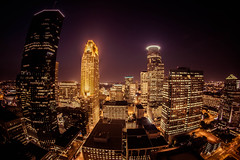 Minneapolis - from the Foshay Tower (Eric Fryc) Tags: urban tower night skyscraper canon eos rebel lights metro minneapolis fisheye 8mm bower foshay t3i downtownminneapolis foshaytower 600d samyang rokinon