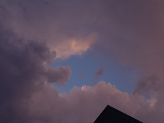 Fiddler On The Roof:  Thundering Sunset (tonight, unedited) (note the reversed purple heart) (PilgrimElaine) Tags: home closeup zoom awesome bluesky thunderstorm purpleheart unedited fiddlerontheroof ithacany sunsetcolors invertedheart severethunderstormwatch roseclouds seriesofstorms seriesofthunderstorms manystorms