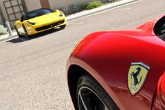 Ferrari 458 Italia (Monkey Wrench Media) Tags: show red two arizona italy field car yellow tom emblem logo twins italian italia market az ferrari fresh depthoffield badge thumb shield scottsdale toms dual scuderia depth combo 458 scuderiaferrari