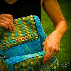 Eco Yellow Blue Trim Bag-8 (Cathy andersen) Tags: ecoyellowbluetrimbag artisticcreations bag blue cathyandersen clutch crochet discardedmaterials fabric handbag handmade margaret plasticbags pockets purse recycle reuse silknecktie textilerepurposed yellow