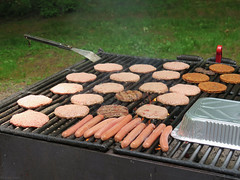 Grilling burgers and hot dogs (Coyoty) Tags: wickhampark manchester connecticut ct park picnic food cookout meat grilling bbq barbecue outside outdoor statepark burgers hamburgers hotdogs green black brown grass grill cooking