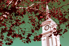 IMG_1808 (Mike Berninger) Tags: aurora indiana church steeple contrast landmark architecture cincinnati town clock tower red blue