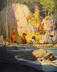"""""""Captives"""" by N. C. Wyeth from """"The Last of the Mohicans"""" by James Fenimore Cooper. NY: Scribner's, 1919. First edition (lhboudreau) Tags: book books hardcover hardcovers hardcoverbook hardcoverbooks vintagebook vintagebooks classicbook classicbooks classicnovel classicstory art artist illustrator illustrated illustration illustrations drawing drawings illustratedbook illustratedbooks illustratedclassics bookart wyeth ncwyeth 1919 illustratedclassic vintageillustration vintageillustrations classicillustrator classicillustrations vintagebookillustrations vintagebookillustration lastofthemohicans mohicans thelastofthemohicans cooper jamesfenimorecooper fenimore uncas frenchandindianwar 1757 nattybumppo hawkeye chingachgook americanindian americanindians nativeamerican nativeamericans indians indian charlesscribnerssons scribners charlesscribners firstedition fiction canoe captive captives river"""
