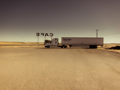 old soul (Jo-H) Tags: desert cafe sign retro americanwest minimalism solitude summer truck 18wheeler classic