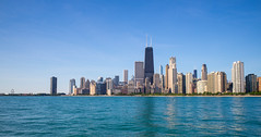 Chicago (Explored) (romanboed) Tags: leica m 240 summicron 28 usa chicago summer city skyline panorama travel architecture cityscape lake michigan lakefront waterfront sky clear day blue
