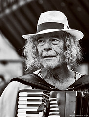 International Folklore Festival, Pirot, Serbia 2016 (Tanjica Perovic) Tags: events culture tradition portrait blackandwhite man accordionplayer orchestra music musicalinstrument face lines wrinkles hair hat expressive pirotserbia festival folklore dance musician experience candid street eyebags