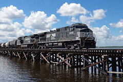 Neuse River Crossing (Jim Atkins Sr) Tags: trestle neuse neuseriver locomotive norfolksouthern norfolksouthernrailroad northcarolina nc newbern newbernnc d944cw bridgetonnc freighttrain freight timbertressle mixedfreight