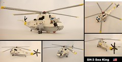 SH-3H Sea King (2) ([Maks]) Tags: lego moc helicopter sikorsky sh3 uh3 s61 sea king submarine warfare rotor minifig scale flying aircraft carrier