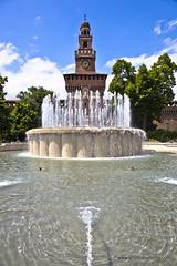 Fountain in front of Sforza Castle (doveoggi) Tags: 9548 city italy lombardy milan castle fountain