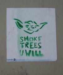 (TheMachineStops) Tags: 2013 outdoor nyc newyorkcity 420 yoda starwars trees joint blunt green stencil urbanart streetart stoner manhattan