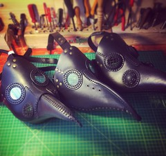 Haloween is coming and people are getting ready. Three plague doctor masks shipping out this afternoon. - [x] #postapocalyptic #postapocalypse #steampunk #steampunkmask #leathermask #handmade #LARP #plaguedoctor #plaguedoctormask #dieselpunk #dark #Leathe (tovlade) Tags: face mask cyberpunk cyber goth make up goggles girl punk postapocalyptic postapocalypse black steampunk leather hand made larp cybergoth dieselpunk plague doctor