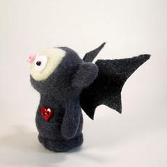 Look eento the heart of darkness!! The dreaded eebil Batbob! (Kit Lane) Tags: kitlane halloween wool felted bat kawaii toy