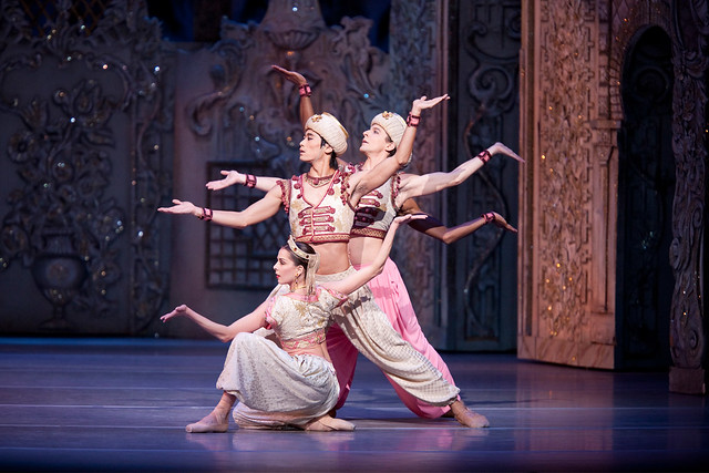"Laura McCulloch, Ryoichi Hirano and Johannes Stepanek in the Arabian dance in Peter Wrights production of  The Nutcracker. The Royal Ballet 2010/11. <a href=""http://www.roh.org.uk/productions/the-nutcracker-by-peter-wright"" rel=""nofollow"">www.roh.org.uk/productions/the-nutcracker-by-peter-wright</a>"