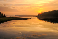 Bar Harbor Sunrise (Greg from Maine) Tags: reflection nature fog sunrise golden nationalpark foggy barharbormaine tidal acadia barharbor morningmist acadianationalpark goldensunrise trentonmaine