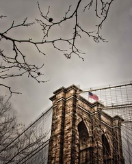 Brooklyn Bridge (Dennis Herzog) Tags: nyc winter newyork dumbo bridges flags brooklynbridge usflag newyorkbridges