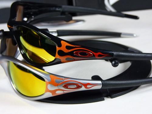 d605abaa606 Oakley New Straight Jacket Jet Black Orange Flames w Fire Polarized vs.  FMJ+ Orange