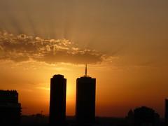 Summer sunset (seikinsou) Tags: sunset brussels summer sky cloud skyline skyscraper golden ray belgium belgique bruxelles sunray