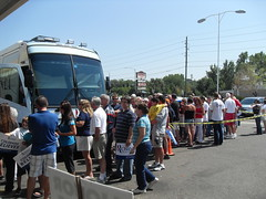 Lined up for a tour of the Romney Bus.